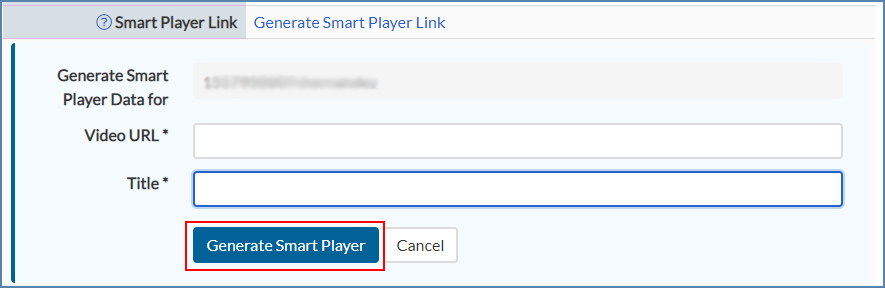 Image of the Generate Smart Player link box