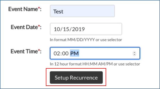 Image of the Recurrence Setup box