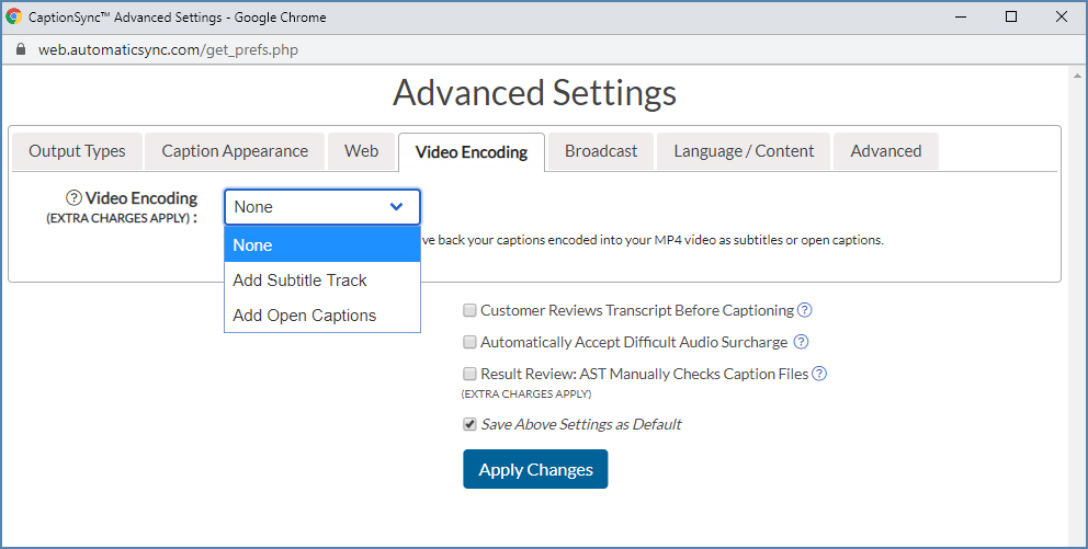 Image of the Video Encoding tab, on the Advanced Settings dialog box