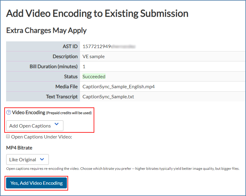 Image of the Add Video Encoding page