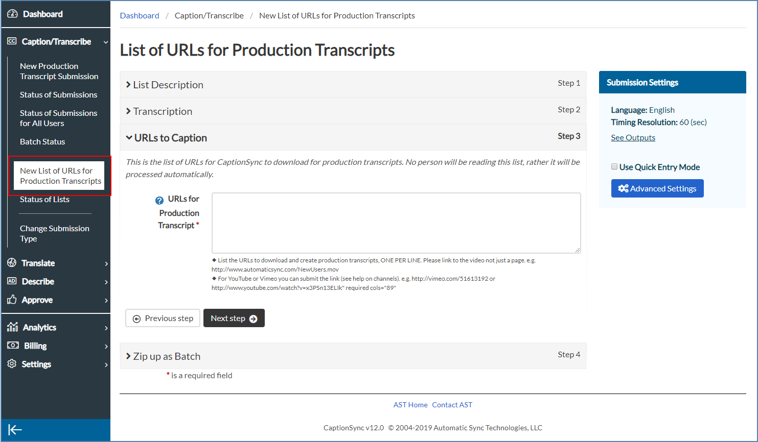 Image of the New List of URLs for Production Transcripts Only page