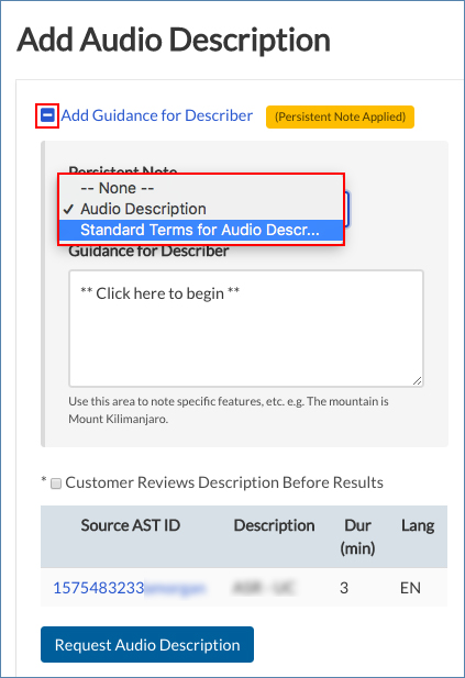 Image of the Add Audio Description page, highlighting the Guidance section