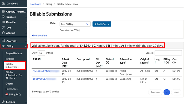 Image of the Billable Submissions page