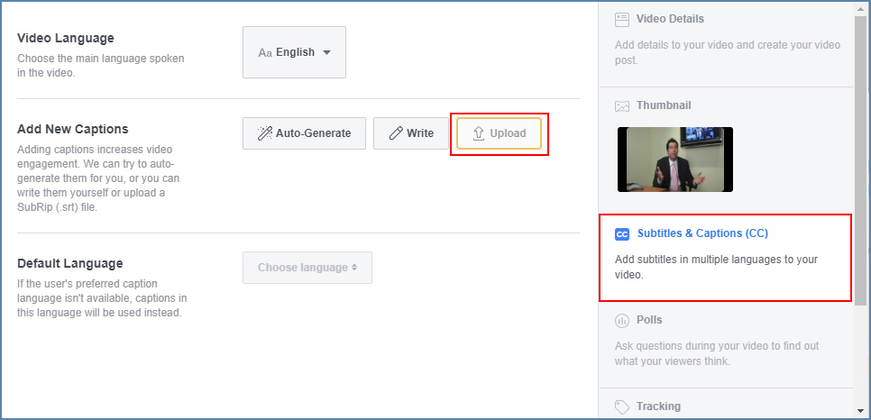 Image of Facebook Page's edit box, highlighting the Subtitles section