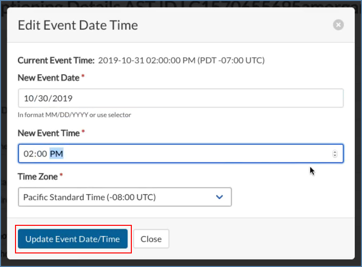 Image of the Edit Event Date Time box