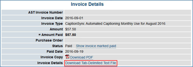 Image of the Invoice Details page