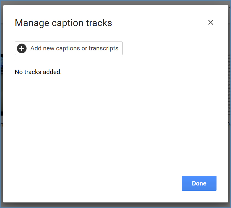 Image of the Manage caption tracks dialog box, on Google Drive