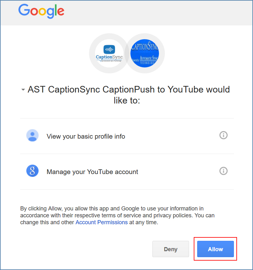 Image of the CaptionPush to YouTube page, on the Google account
