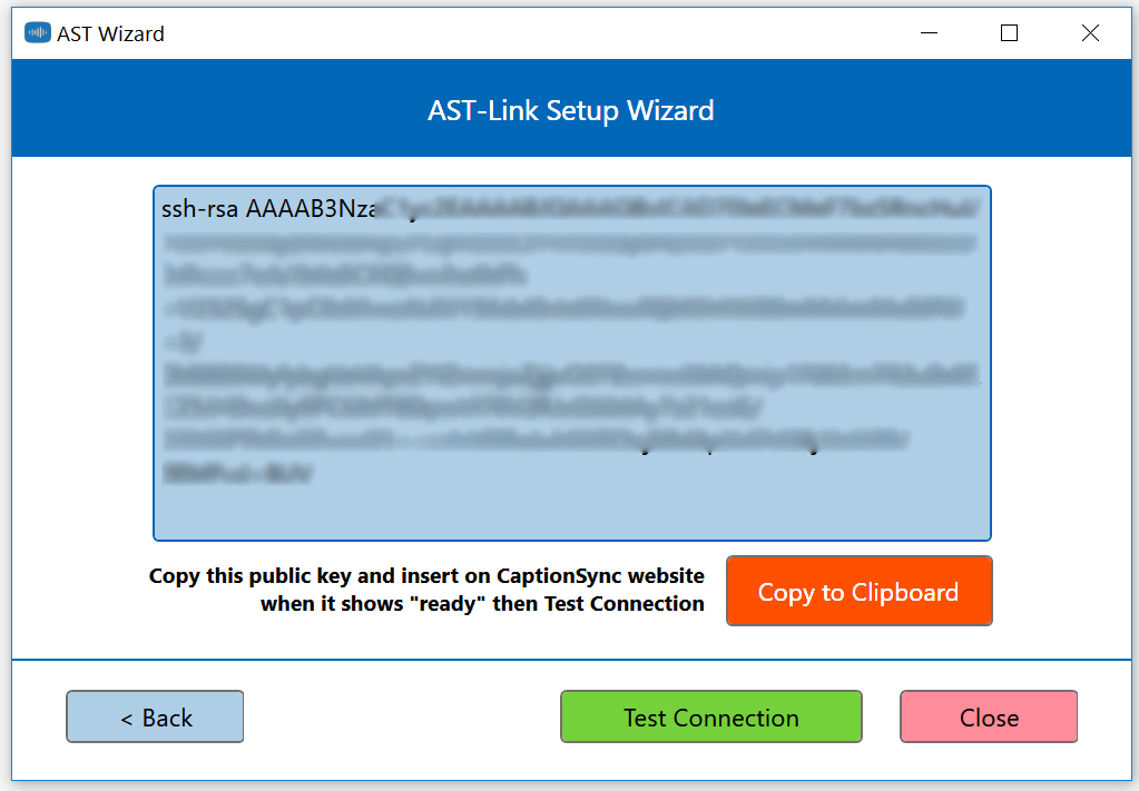 Image of the AST-Link setup wizard