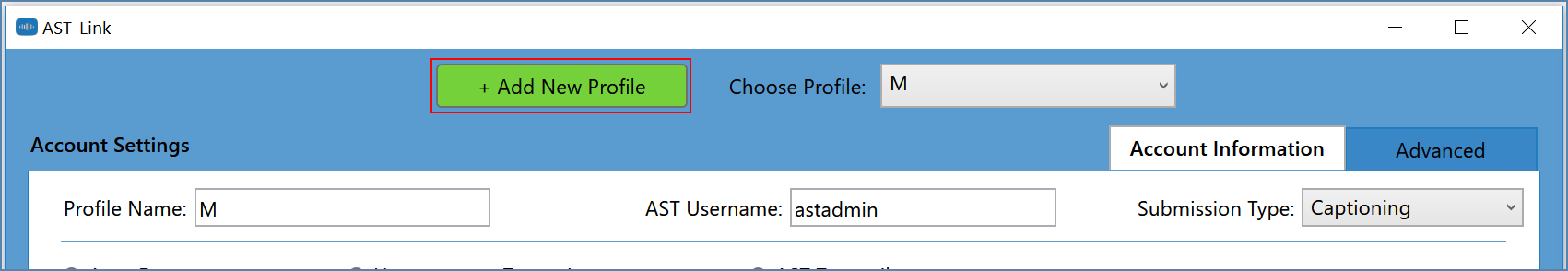Image of the AST-Link window, Settings section