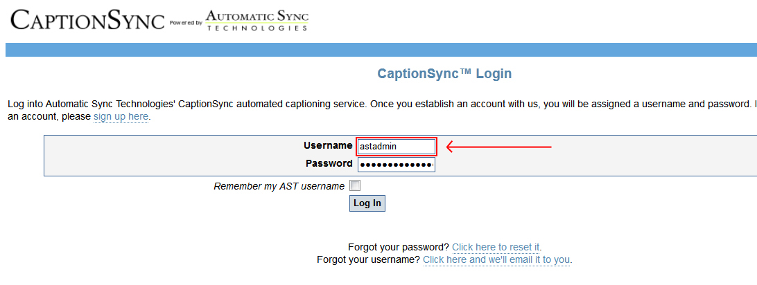 Image of the login page