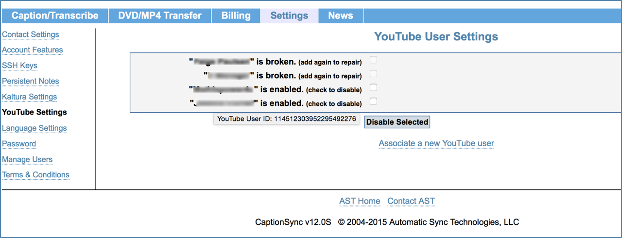 Image of the YouTube Settings page, on the CaptionSync account