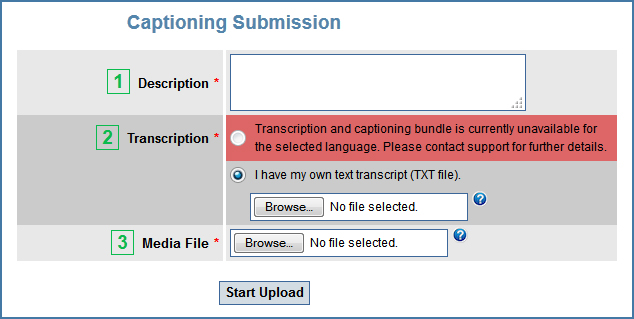 Image of the Captioning Submission page for German requests