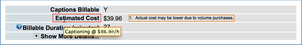 Image showing Estimated Cost row on Submission Details page with footnote