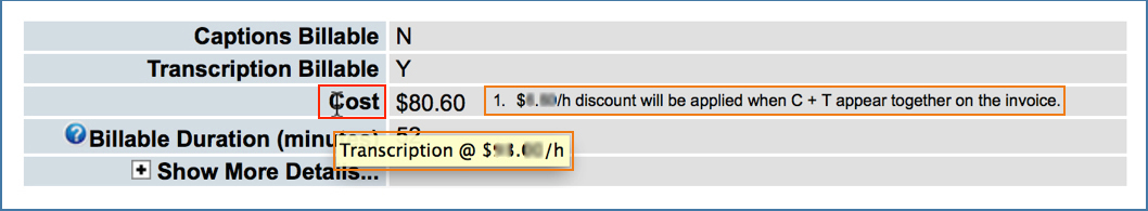 Image showing Cost row on Submission Details page with footnote