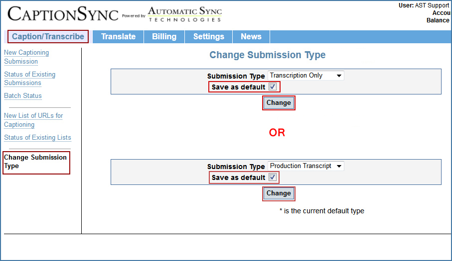 Image of the Change Submission Type page, on the CaptionSync website