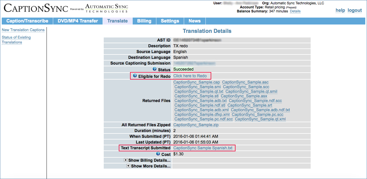 Image of the Translation Details page