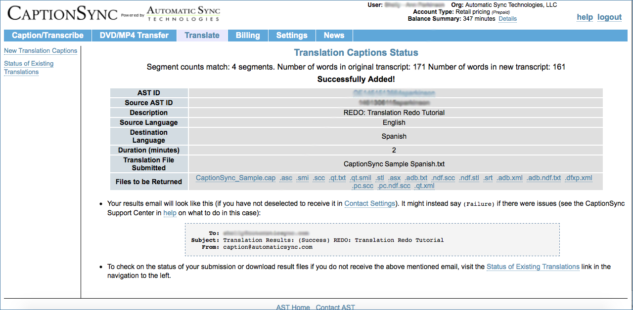 Image of the Translation Redo Status page