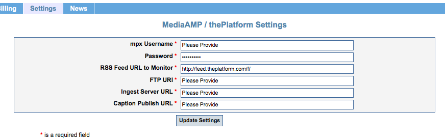 Image of the MediaAMP / thePlatform Settings page, on the CaptionSync website