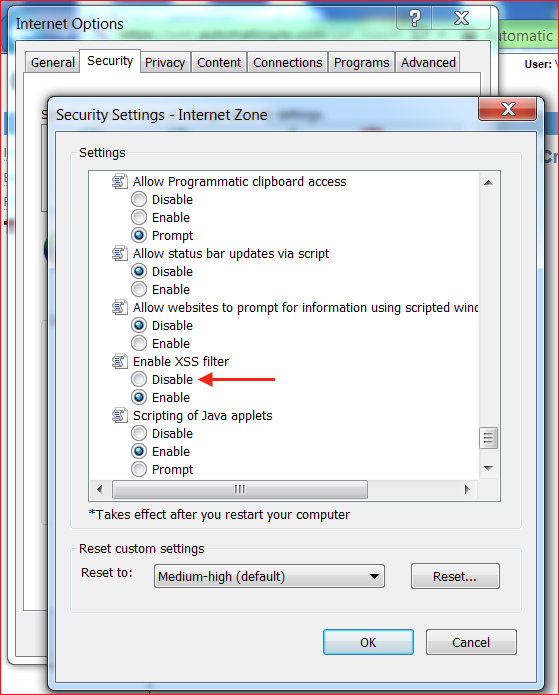 Disable MS XSS Filter in IE