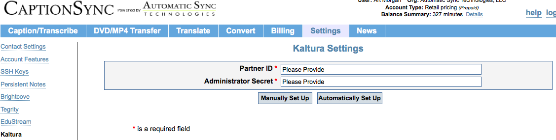 Image of CaptionSync Kaltura Settings page