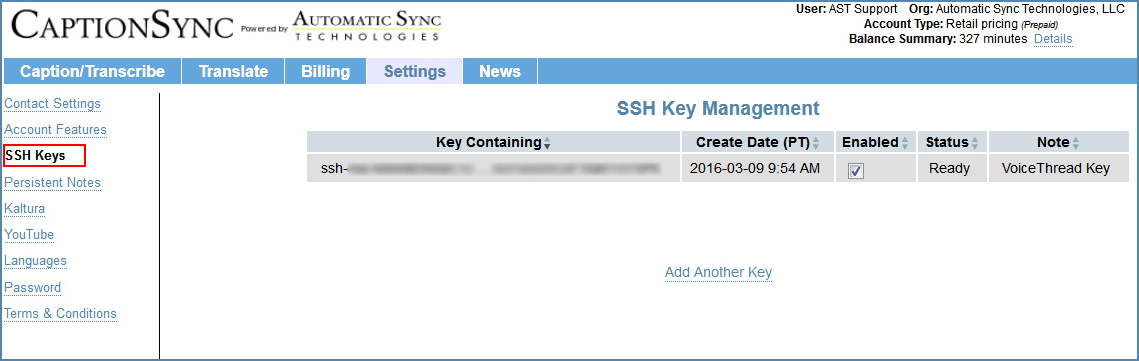 SSH Keys page, on the CaptionSync account