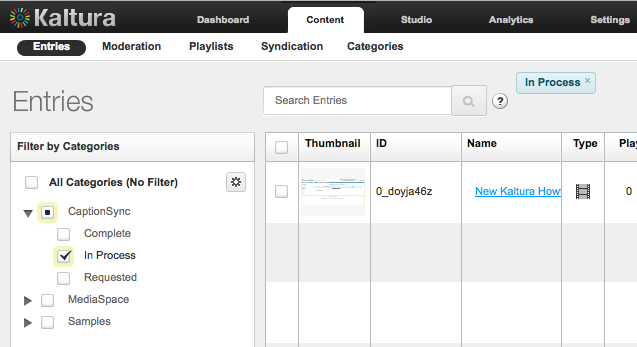 Image of Kaltura Management Console Content Entries page