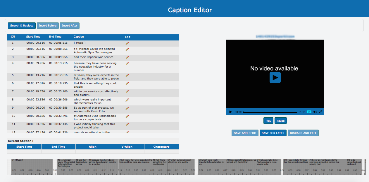 Image of the Caption Editor page