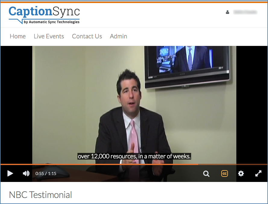Image of a D2L portal interface, showing captions and a video playing