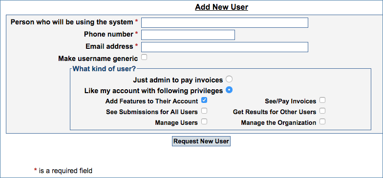 Image of the Manage Users page, under the Settings tab