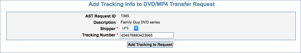 Image of the DVD/MP4 Transfer Tracking Number box