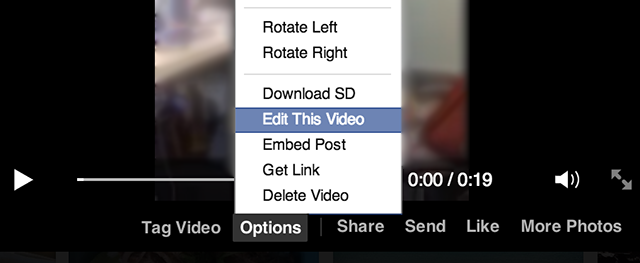 Facebook video interface