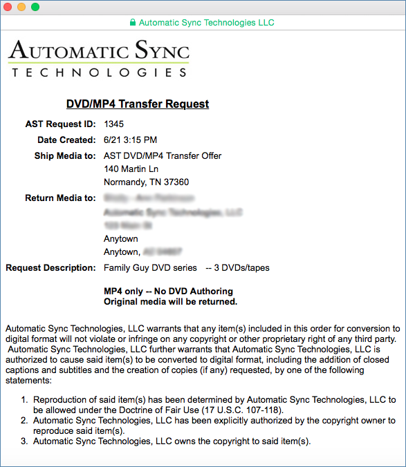 Image of the DVD/MP4 Transfer Request Sheet