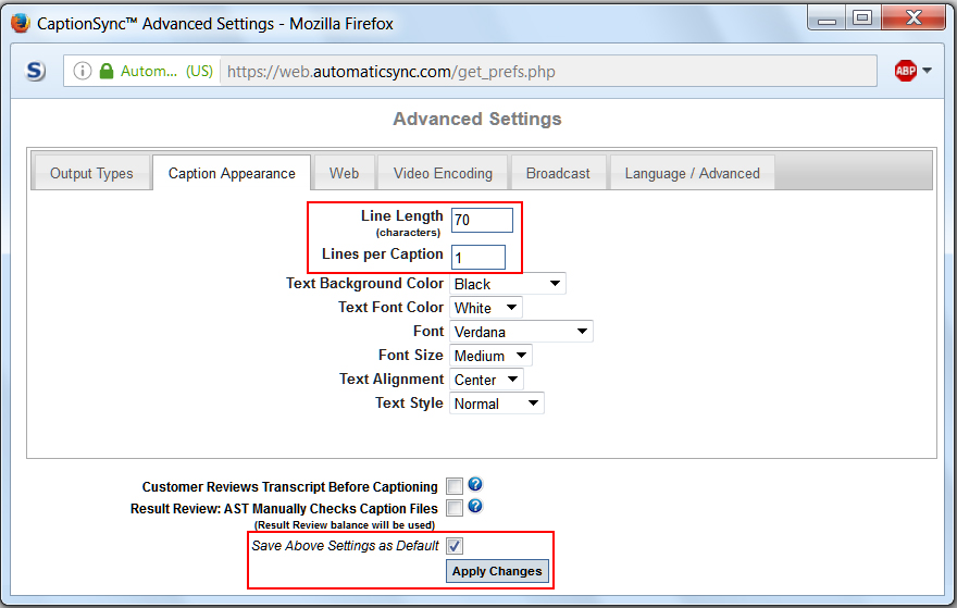 Image of the Advanced Settings dialog box