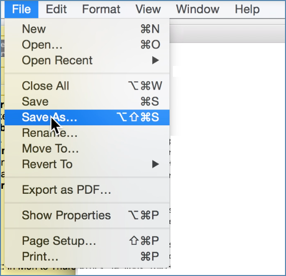 Image of TextEdit File menu