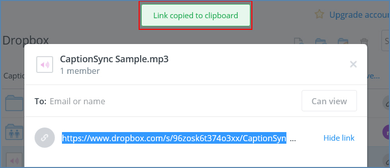 Image of the Dropbox UI, highlighting Link copied to clipboard