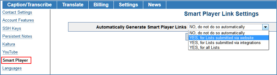 Image of the Smart Player Link Settings page