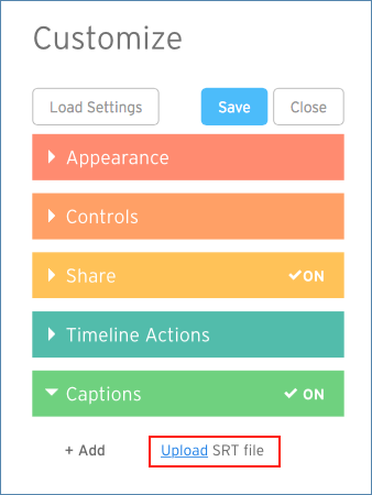 Image of the Wistia Caption Upload menu