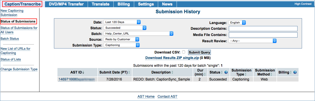 Image of the Status of Submissions page