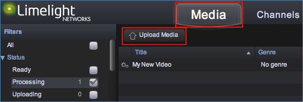 Image of the Limelight Upload Video/Audio File interface