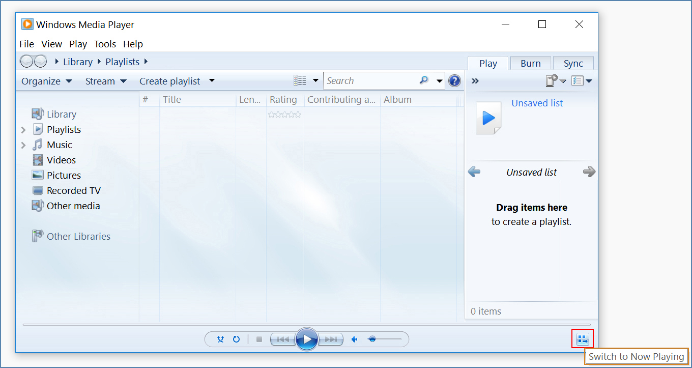 Image of the Now Playing mode, on Windows Media Player