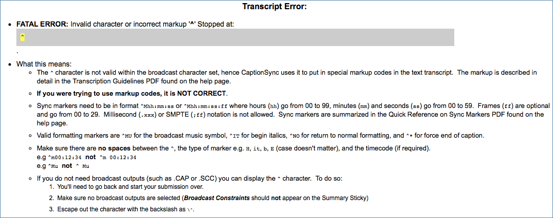 Image of CaptionSync's Fatal Error Invalid Character