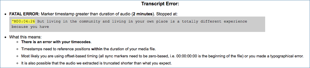 Image of CaptionSync's Fatal Error Marker Timestamp