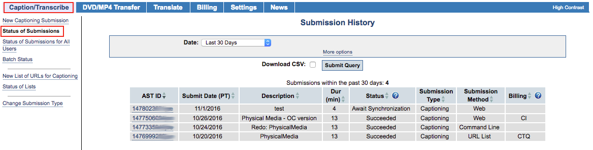Image of the Submission History page