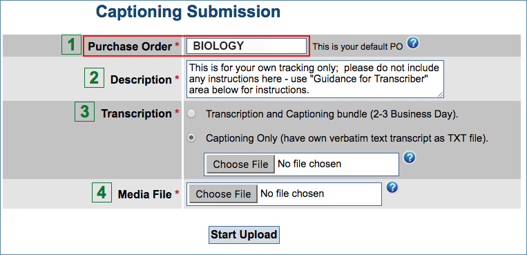 Image of the Purchase Order filter for Submissions