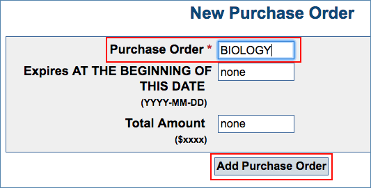 Image of the Add Purchase Order page