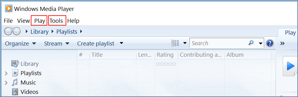 Image of the Windows Media Player's menus