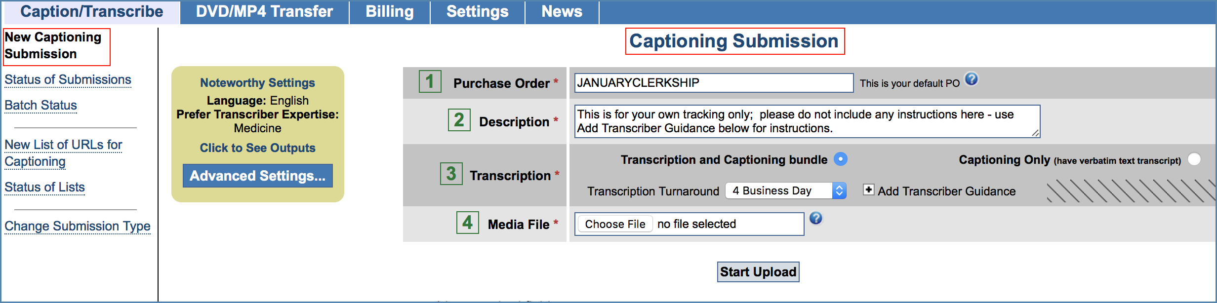 Image of the New Captioning Submission page