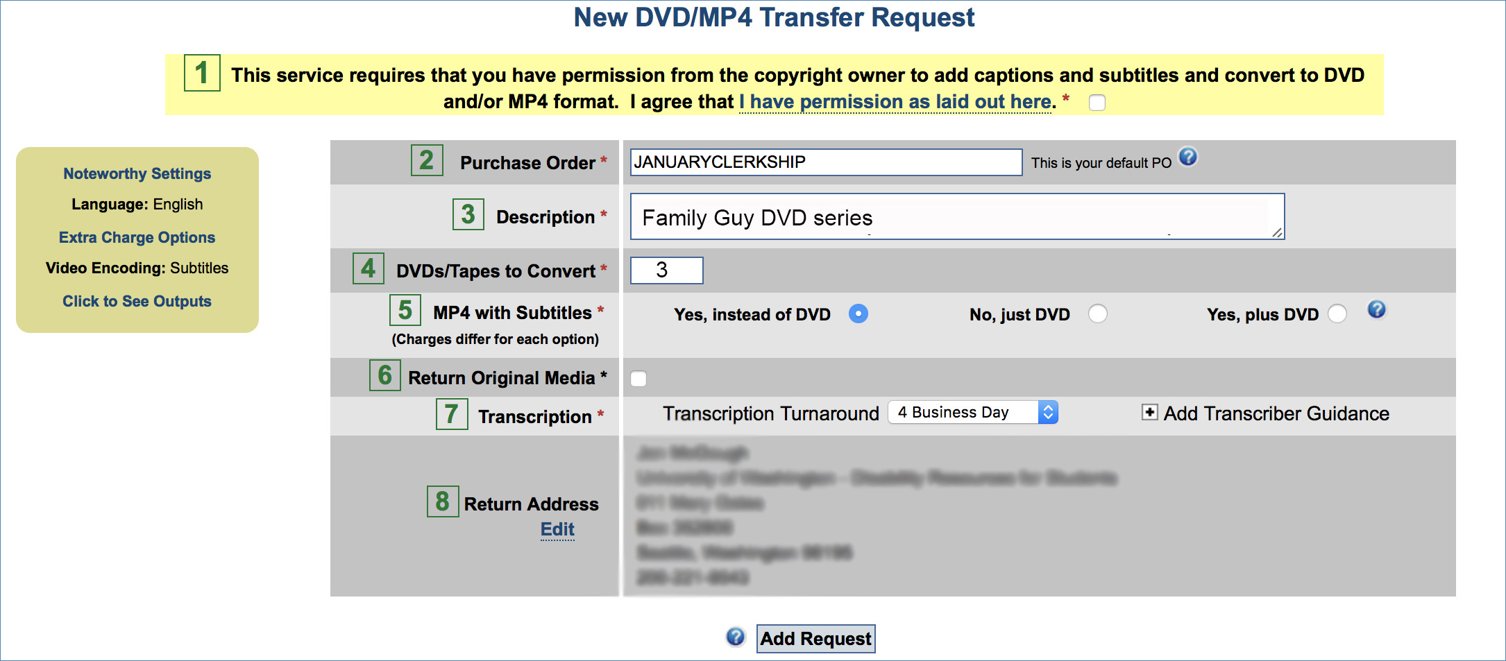 Image of the DVD/MP4 Transfer request page