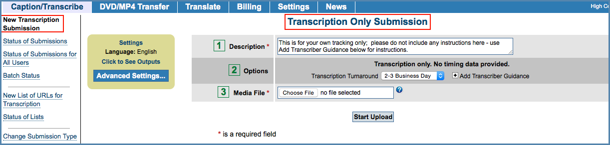 Image of the New Transcription Submission page